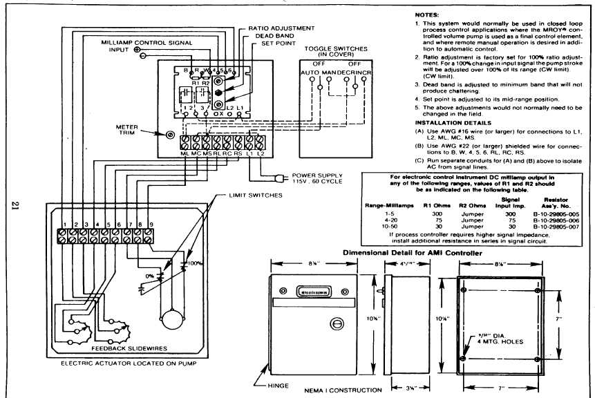 Figure 11. Model AMI-MA Controller-to-Actuator Wiring Diagram on